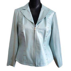 VTG Leather & Knit Blue Zip Nygard Jacket (14-16)